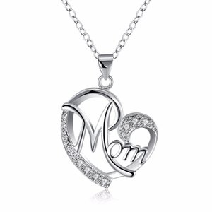 Cute Mom Letter Necklace  Cubic Zirconia Love Heart Pendant & Necklace Silver Color Jewelry For MUM Mama Mother's Day Gift
