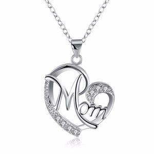 Jóias Colar letra bonito Mom Cubic Zirconia amor coração pingente de colar de prata da cor para o presente dia da mamã Mama Mãe