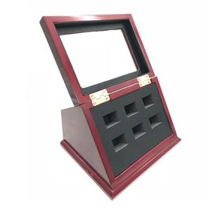 Innovation Slant Wood T-förmiges klares Gesicht 7 Position Loch Display Box für alle Arten von Championship Rings Schiff von DHL über 3 Stück