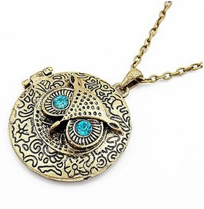Brand new Vintage item blue eyes retro owl long necklace Openable Phase box sweater chain Wholesale Jewelry Stock Promotion Gifts