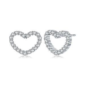 925 Sterling Silber Be My Valentine Herz Ohrstecker, klare CZ Femme Ohrstecker Schmuck Brincos Fine Jewelry Hohl Herz