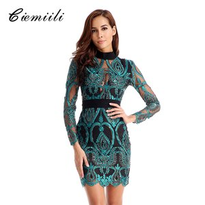 CIEMIILI New Bandage Dress Sexy Mesh Women Lace Party O Collo Maniche lunghe Abiti estivi 2018 Vestiti di moda Bodycon Vestidos