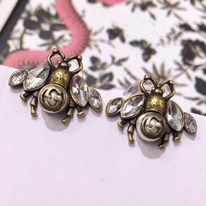 Estilo de latón de lujo de marca Pendientes de abeja con diamante y perla S925 pendiente de plata pura para las mujeres regalo de navidad joyería fina