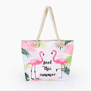 Canvas flamingo makeup bag Creative Cartoon hand bags women outdoor travel camping storage sack summer beach bag cotton rope cosmetic bags