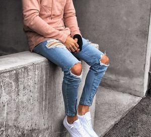 Mens Holes Jean Biker Skinny Zipper Design Lange Jeans Blue Jeans Hose Ripped Pants