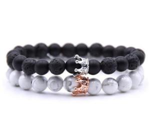 Crystal Crown Lave Rock White howlite Pulsera Cuentas de Piedra Natural Joyería de Moda para Mujeres Hombres