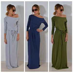 النساء بوهو كم طويل فستان ماكسي السيدات عادي الصلبة الصيف شاطئ حزب مساء حزام فستان الشمس 3 ألوان OOA4037