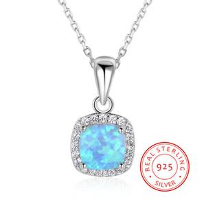 подлинный S925 серебряное ожерелье лета онлайн оптового твердого 925 стерлингового серебра синий синтетический опал человек ожерелье