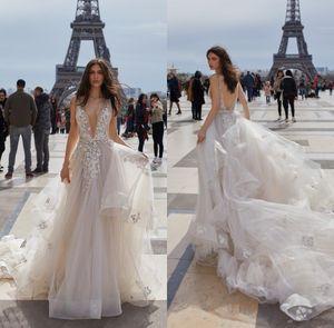 섹시 비치 컨트리 스타일 아플리케 웨딩 드레스 Boho Backless 딥 브이 넥 Backless 저렴한 신부 가운 Simple Wear