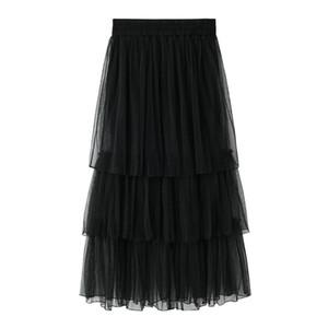 2018 Falda de verano nueva Falda larga de tul de las mujeres Malla gris gruesa Hinchada Capas plisadas Tiered Long Sweet Saias Femininas