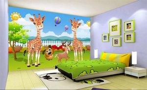 Custom 3D Photo Wallpapers Creative Cartoon Deer Wallpaper Wallpaper Dormitorio de los niños Fondo Wallpaper Jirafa Mural Wallpaper