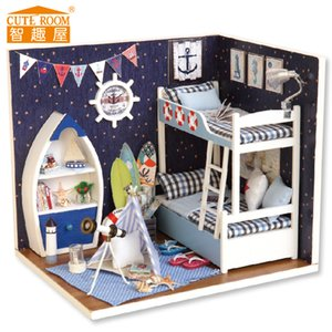 High quality 3D wooden mini jigsaw, doll house, miniature DIY furniture, children holiday gifts with dolls and LED lights