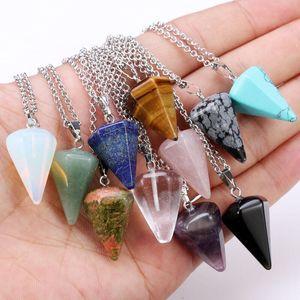 Colgante de cristal natural, collar colgante de cristal en forma de pirámide de seis ángulos con cadena de plata joyería de las mujeres de piedra natural