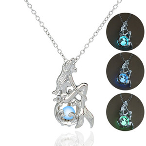 pearl Cage luminous Necklace Love Wish natural Pearl With Oyster glow in the dark mermaid pendant Hollow Locket Clavicle Necklace drop ship