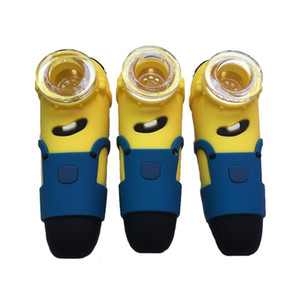 11cm Minions hand pipes Food Grade Silicone Smoking Water Hookah Bong with Glass Bowl VS glass pipe