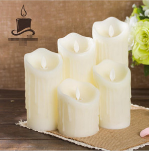 New Arrival Simulation of fFlame Head Swing LED Candle Wedding Dinner Road Swing Home Furnishing Charging Electronic Candle Wax