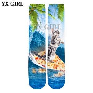 YX GIRL Drop shipping 2018 Verão Novo Estilo de Moda 3d meias animais Engraçado pizza e gato 3D Impressão Homens / Mulheres meias Casuais