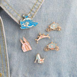 brooch pins set Cinderella blue dress brooches pin palace pumpkin carriage crystal shoes princess pins collection