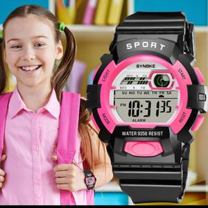 Спорт детские часы dijital saat цифровой сигнализации Repeater Черный свет LED наручные часы подарок студент дети часы мальчики девочка