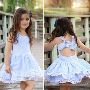 Nueva Baby Girl Summer Dress Niños Blue Striped Backless Bowknot Princess Dress Niños Moda encaje de flores de algodón vestidos Z11