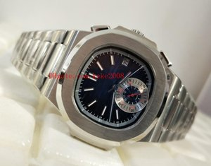 Luxury Classic Series 40mm Cinturino in pelle Nautilus 5980 / 1A-001 Acciaio inossidabile Asia Trasparente meccanico automatico orologi da uomo