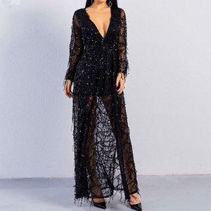 Nuevas y elegantes lentejuelas de heavy metal Celebrity Evening Club Vestidos Vestidos Maxi negros de la moda de oro negro Vestidos largos de mujer