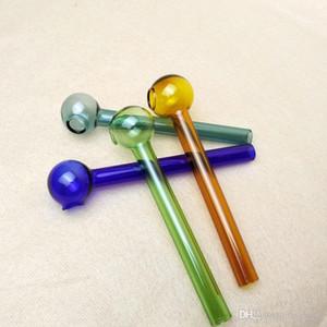 Tubos de petróleo quemador de cristal Mini cuchara de mano Pipas colorido pequeño tubo recto Pyrex Pyrex de cristal del quemador de aceite de tuberías de colores