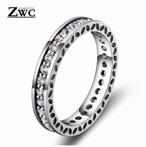 ZWC moda elegante temperamento intarsio di cristallo anello per le donne uomini matrimonio festa romantica semplice alta qualità anello gioielli zircone