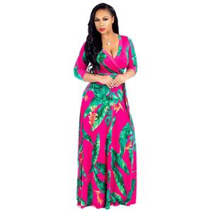 Grüne Blätter gedruckt sexy Maxi Kleid Frauen tiefem V-Ausschnitt volle Hülse böhmischen Kleid Vintage Bow Sash bodenlangen Vestidos