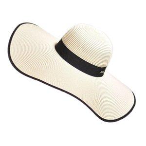 'Été' pour femmes '' pliable large bord large Floppy Summer Fashion femmes chapeau de plage de soleil chapeau chapeau de paille Drop Shipping