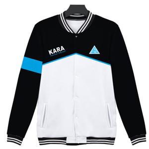 Detroit se tornar humano 3D jaqueta De Beisebol detroit: tornar-se connor humano KARA uniforme de Beisebol Para Homens Mulheres Hoodies Moletom 4XL