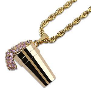 Desbordante de helado collar colgante de alta calidad con incrustaciones de cobre rosa circón colgante 60 cm cadena joyería unisex