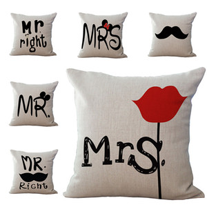 새로운 Mrs. Mrs Pillow Case 커버 리넨 인쇄 광장 베개 커버 홈 소파 자동차 장식 편지 수염 패턴 쿠션 커버 45 * 45cm WX9-250