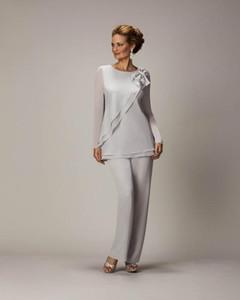 2021 новый жених мать невесты платья свадебные гость формальное вечернее платье с длинным рукавом экипаж мать костюм серый шифон лук-молния