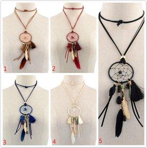Retro Dreamcatcher Halskette mit Federn und Quaste Handgewebte Dream Catcher Bears Quaste lange Pullover Kette Halskette