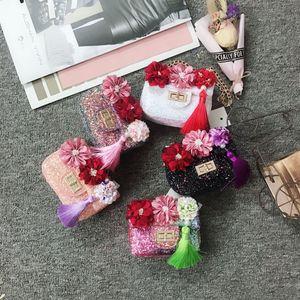 Горячие Продажа Детские сумки моды корейской девушки цепи монет Кошельки Прекрасный Cute Вишневый Цветочные Блестки Мини мешки плеча детей Рождественский подарок