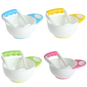 free shipping Two piece Baby Food Grinding Bowls Learn Dishes Handmade Grinding Fruit Food Supplement Baby Tool Infant Food Mills 4 Colors