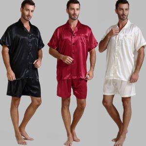 Erkek Ipek Saten Pijama Pijama Pijama Kısa Set Pijama Loungewear ABD, ABD, M, L, XL, 2XL, 3XL, 4XL Solid__6Colors