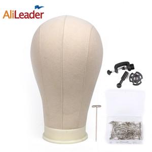 Alileader 캔버스 블록 헤드 Manequin 머리 가발 디스플레이 스타일과 마운트 구멍 일반 얼굴 가발 모자 스탠드와 함께