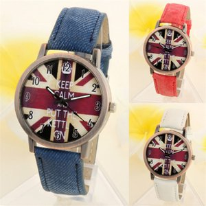 2018 NEW Unisex Casual Quartz Analog Sports Denim Fabric UK Flag Wrist Watch relojes mujer No25