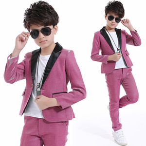 2018 Kids Jazz Dance Costumes Boys Ballroom Dancing Pink Suit Hip Hop Stage Outfit Performance Wear Ropa para niños DNV10050