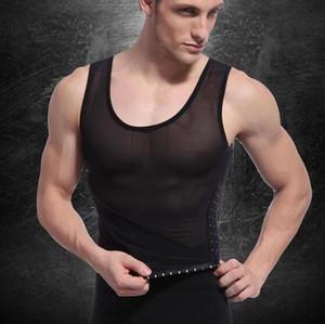 Mens all'ingrosso tuta Mens sottile Body Shaper uomini cincher della vita che dimagrisce camicia undershirt Tummy Belt Waist Trainer che modella biancheria intima D558