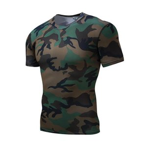 running fast camouflage tights suits body-building short-sleeved Outdoor jerseys sweating men's dry basketball JM T-shirts Kwdjb