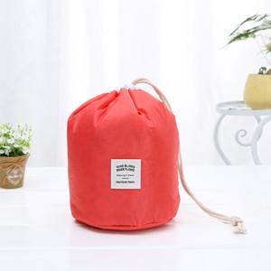 Waterproof Forma balde de armazenamento sacos de viagem Polyster maquiagem cosméticos saco de lavagem Organizador Drawstring Bag Drop Ship 050036