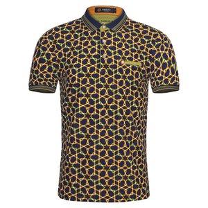Yaz Moda Erkek Polo Gömlek Kısa Kollu Geometrik Desen Ince Gömlek Erkekler Için Polo Gömlek Camisa Polo Masculina Büyük Boy toptan