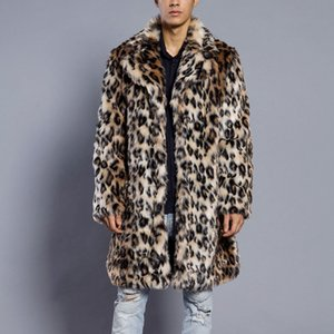 FeiTong Chaqueta Hombre 2018 leopardo cálido abrigo de cuello de piel gruesa Parka de piel sintética Outwear Cardigan rompevientos Chaqueta de invierno Hombres