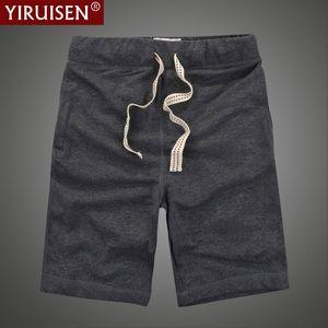 YIRUISEN Марка одежда повседневные шорты мужчины хлопок шнурок сплошной цвет середины короткие брюки летние мужские шорты Бордшорт Бермуды