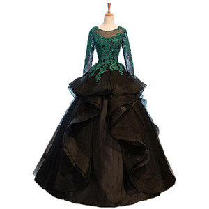 Unique Black Lace Quinceanera Dresses Long Sleeves Sequin Beaded Tulle Ball Gown Sweet 15 Gowns Custom Made Puffy Evening Prom Dresses 2020