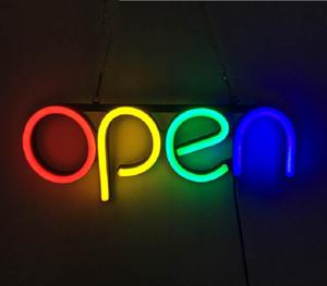 LED Neon Burcu-OPEN- DÖRT RENKLER, Çizgi şekli, Dalgalı Çizgi Şekli, AC Güç Adaptörü ile Yanıp Sönen Seçeneği