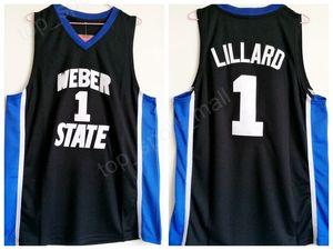 Weber State Damian Lillard Jersey 1 Universität Schwarz Farbe Männer Basketball Lillard College Jerseys Atmungsaktiv Für Sportfans Hohe Qualit